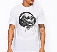 abordables -Homme Unisexe T-Shirts T-shirt Estampage à chaud Crânes Grandes Tailles Imprimé Manches Courtes Quotidien Hauts 100% Coton basique Simple Grand et grand Argent Gris foncé Blanc / Noir