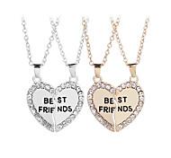 economico -collana best friends per 2 bff collana cuore spezzato ciondolo con lettere incise bestfriends con strass (oro)