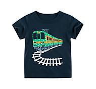 economico -Bambino Da ragazzo maglietta T-shirt Manica corta Pop art Con stampe Blu Cotone Bambini Top Estate Moda città