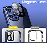 economico -telefono Custodia Per Apple Integrale iPhone 12 Pro Max 11 Pro Max Doppia setola Trasparente Protezione per obiettivo della fotocamera Tinta unita Vetro temperato Metallo
