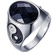 economico -anello yin yang da uomo in acciaio inossidabile hijones con gemma bianca ovale misura 8
