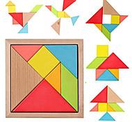 economico -tangram in legno montessori 7 piece jigsaw puzzle colorful square iq game rompicapo giocattoli educativi intelligenti per i bambini