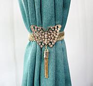 economico -Tendaggi decorativi con fibbia per tende a farfalla in lega di stile di lusso da 1 pezzo