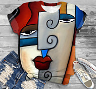 abordables -Femme Grande taille Imprimé Graphique Abstrait Portrait T-shirt Grande taille Col Rond Manches Courtes Hauts XL XXL 3XL Blanche Rouge Jaune Grande taille / Grandes Tailles