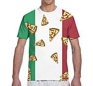 abordables -T-shirt Homme Pizza Drapeau Impression 3D Imprimé Quotidien Manches Courtes Hauts Classique Designer Grand et grand Vert / Blanc