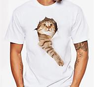 economico -Per uomo maglietta Stampa 3D Gatto Pop art Con stampe Manica corta Quotidiano Top Casuale Sportivo Rosa chiaro Nero / Bianco Arancio corallo
