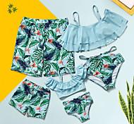 abordables -Regard de la famille Tous Lots de Vêtements pour Famille Maillot de Bain Bleu & blanc Graphique Imprimé Vert Claire Eté