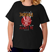 abordables -Femme Grande taille Imprimé Lettre Animal T-shirt Grande taille Ras du cou Manches Courtes basique Hauts XL XXL 3XL Blanche Noir Gris Grande taille / Coton / Grandes Tailles