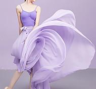 abordables -Costumes de Danse Jupes Bandeau Couleur Unie Femme Entraînement Utilisation Taille moyenne Mousseline de soie