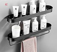 economico -Mensola bagno 30cm nera con portasciugamani spazio mensole angolari in alluminio portasciugamani con gancio porta shampoo portaoggetti da cucina