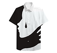 abordables -Chemise Homme Imprimés Photos Shadow Impression 3D Bouton bas Imprimé Décontracté Manches Courtes Hauts Simple Designer Grand et grand Noir / Blanc