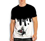abordables -Homme T-shirt Impression 3D Imprimés Photos Poissons Imprimé Manches Courtes Quotidien Hauts Simple Designer Grand et grand Noir / Blanc