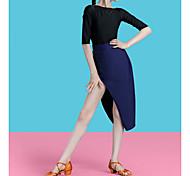 abordables -Danse latine Costumes de Danse Jupes Imprimé léopard Couleur Unie Femme Fille Entraînement Utilisation Demi Manches Taille haute Nylon