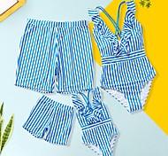 abordables -Regard de la famille Tous Lots de Vêtements pour Famille Maillot de Bain Bleu & blanc Graphique Imprimé Bleu Eté