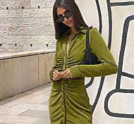economico -Per donna Tubino Mini abito corto Arancione Verde Manica lunga Tinta unica Increspato Collage Autunno Colletto Sensuale 2021 S M L