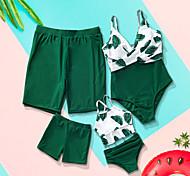 abordables -Regard de la famille Tous Lots de Vêtements pour Famille Maillot de Bain Bleu & blanc Graphique Imprimé Vert Eté