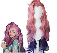 abordables -lol seraphine cosplay perruque kda cosplay vague lâche droite rose mixte violet perruques résistant à la chaleur synthétique jeu de cheveux