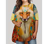 abordables -Femme Grandes Tailles Graphique Animal Imprimé Simple Demi Manches Automne Robe courte courte Robe T shirt Orange