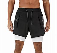abordables -Homme Shorts de course Athleisure Bas 2 en 1 avec poche téléphone Boucle de serviette Aptitude Exercice Physique Spectacle Fonctionnement Entraînement Respirable Séchage rapide Doux Normal Sport
