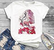 abordables -Femme Grande taille Imprimé Graphique Fleurie Portrait T-shirt Grande taille Col Rond Manches Courtes Hauts XL XXL 3XL Blanche Grande taille / Grandes Tailles