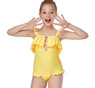 abordables -Enfants Fille Maillot de Bain Une pièce Maillot de bain Maillots de Bain Couleur Pleine Sans Manches Bleu Jaune Actif Maillots de bain