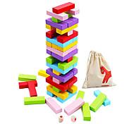 abordables -jeux de société empilables en bois 54 pièces pour enfants adultes et familles monstres doux blocs de bois jouets pour tout-petits blocs de construction colorés - 6 couleurs 2 dés