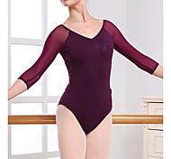 abordables -Ballet Costumes de Danse Collant / Combinaison Couleur Unie Femme Entraînement Utilisation Manches 3/4 Taille haute Fibre de Lait