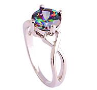 economico -creato anello da donna in argento sterling 925 con topazio blu