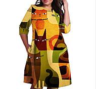 abordables -Femme Grande taille Robe Robe Droite Robe Longueur Genou Manches 3/4 Chat Bloc de Couleur Animal Imprimé Simple Automne Printemps Eté Orange XL XXL 3XL 4XL 5XL / Grandes Tailles