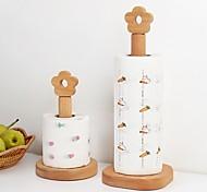 abordables -Creative Kitchen vertical hêtre porte-rouleau de papier hêtre porte-serviettes en papier petite fleur chiffon rack haut