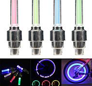 economico -2 pezzi led luci valvola della bici tappi valvola auto lampada del pneumatico lampada flash per bicicletta auto ruote moto lampada stelo mtb accessori per bici