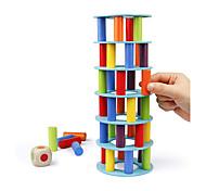 abordables -Jeu d'empilage de tour en bois blocs de construction de compétences motrices fines avec dés renversant la tour penchée jouet montessori jeux de société en famille pour enfants et adultes