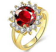 economico -Anello Rubino sintetico geometrico Oro Zirconi Fiore decorativo Di tendenza 1 pc 7 8 / Per donna
