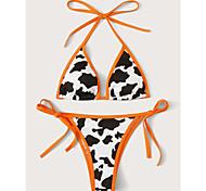 abordables -Femme Bikinis 2 pièces Maillot de bain A Lanières Dos ouvert Léopard Noir Maillots de Bain Rembourré Col en V Maillots de bain nouveau Mode Sexy