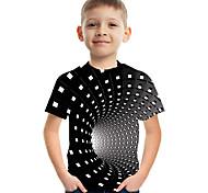 abordables -Enfants Garçon T-shirt Tee-shirts Manches Courtes Bloc de Couleur 3D Imprimé Enfants Le Jour des enfants Hauts Actif Chic de Rue Noir