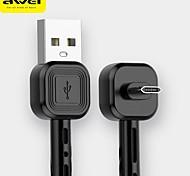 economico -AWEI Micro USB USB C Cavi Normale Intrecciato Trasmissione dati 2.4 A 1.0m (3 piedi) PVC Nylon Per Xiaomi MI Samsung Xiaomi Appendini per cellulare