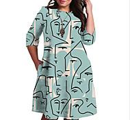 abordables -Femme Grande taille Robe Robe Droite Robe Longueur Genou Manches 3/4 Imprimé Bloc de Couleur Imprimé Simple Automne Printemps Eté Bleu Rouge XL XXL 3XL 4XL 5XL / Grandes Tailles