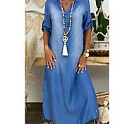abordables -Femme Robe en jean Robe longue maxi Bleu Demi Manches Couleur unie Fendu Eté Col de Chemise Elégant 2021 M L XL XXL 3XL