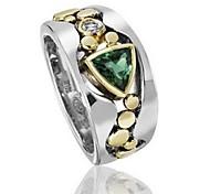 economico -Anello Diamante sintetico Colorata Blu Verde Lega Importante 1 pc 6 7 8 9 10