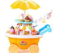 abordables -Jouet de chariot de crème glacée Sets Jouet Cuisine Jeu de Rôle Glace Sweet Candy Shop Musique et Lumière Carcasse de plastique Enfant Préscolaire Jouet Cadeau 39 pcs