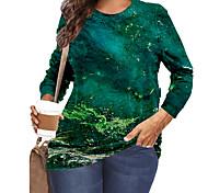 abordables -Femme Grande taille Imprimé Graphique Paysage T-shirt Grande taille Col Rond Manches Longues Chic de Rue Hauts XL XXL 3XL Vert Grande taille / Grandes Tailles