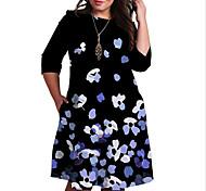 abordables -Femme Grande taille Robe Robe Droite Robe Longueur Genou Manches 3/4 Fleurie Imprimé Bloc de Couleur Imprimé Simple Automne Printemps Eté Bleu XL XXL 3XL 4XL 5XL / Grandes Tailles