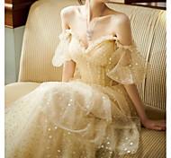 abordables -Trapèze Etincelant Rétro Vintage Fiançailles robe ceremonie Robe Coeur Manches Courtes Longueur Sol Tulle avec Paillette 2021