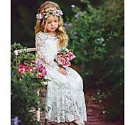 economico -vestito maxi manica lunga fiore in pizzo jacquard bianco da bambina dolce boho party bianco