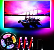 abordables -lumières de bande led kit de lumière de bande arrière tv pcb noir 3.28ft 1m multicolore 60leds flexible 5050 rgb avec câble usb 5v et mini contrôleur pour éclairage de fond d'ordinateur portable tv pc