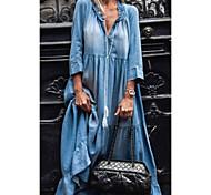 abordables -Femme Robe en jean Robe longue maxi Noir Bleu clair Manches 3/4 Couleur unie Poche Patchwork Printemps Eté Col en V Chic et moderne Simple 2021 S M L XL XXL