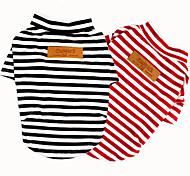 economico -Prodotti per cani Prodotti per gatti T-shirt Gilè A strisce Casual / quotidiano Abbigliamento per cani Vestiti del cucciolo Abiti per cani Nero Rosso Costume per ragazza e ragazzo cane Tessuto