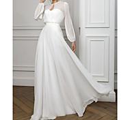 abordables -Trapèze Empire Blanc Vacances robe ceremonie Saint Valentin Robe Cou d'illusion Manches Longues Longueur Sol Mousseline de soie avec Plissé 2021