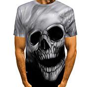 economico -Per uomo Magliette maglietta Stampa 3D Pop art Teschi Taglie forti Manica corta Casual Top Orrore Comodo Grande e alto Nero Rosso Giallo