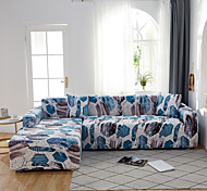 abordables -Feuilles bleues impression housses tout-puissantes anti-poussière Housse de canapé extensible en forme de L Housse de canapé en tissu super doux avec une taie d'oreiller